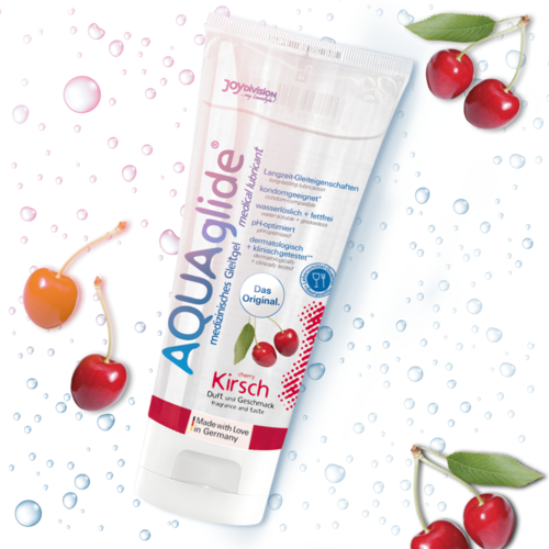 LUBRICANTE BASE AGUA AQUAGLIDE SABOR CEREZA 100 ML.